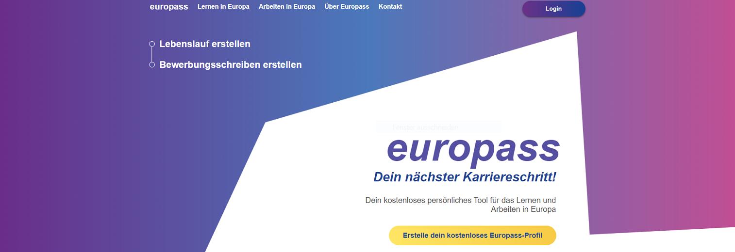 Screenshot Europass-Portal