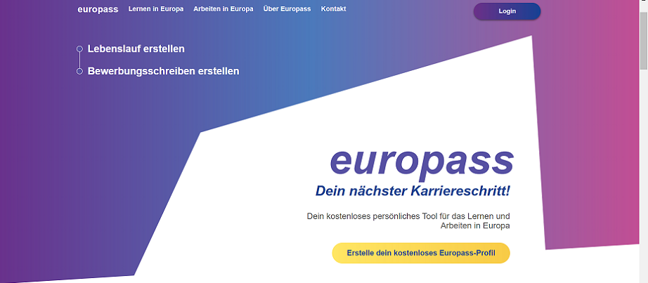 Screenshot Startseite Europass-Porta